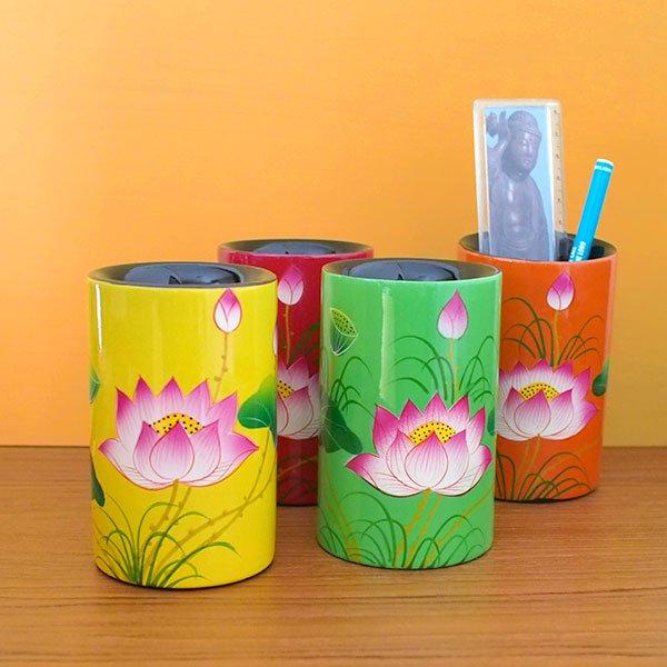 ベトナム 漆 蓮の花 ペン立て A(4色)【画像6】