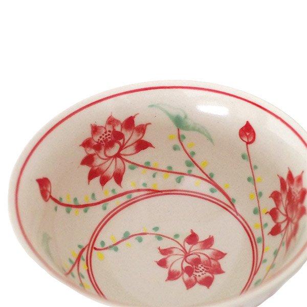 ベトナム バッチャン焼き 手描き  蓮  お茶碗【画像4】