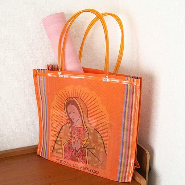 【メキシコ直輸入】メキシコ マリア(グアダルーペ) メルカド バッグ (オレンジ)【画像8】
