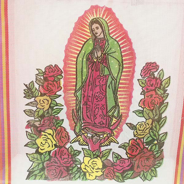 【メキシコ直輸入】メキシコ マリア(グアダルーペ) メルカド バッグ (ホワイト×レッド)【画像2】