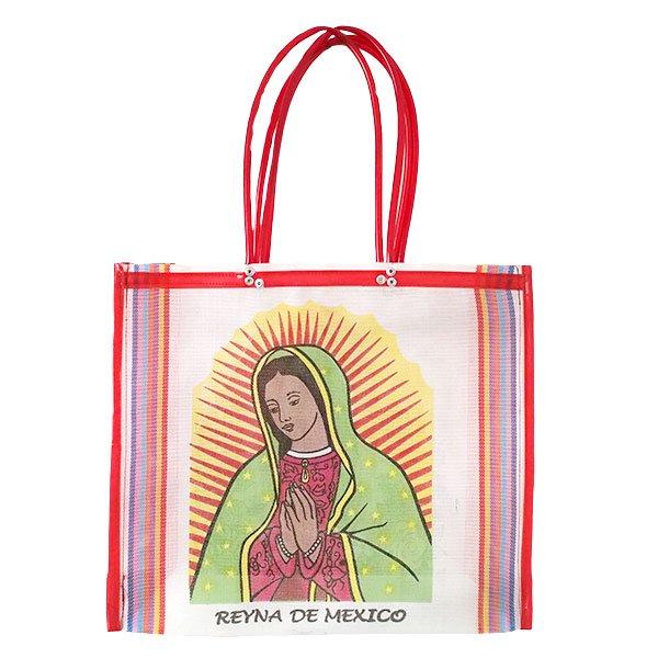 【メキシコ直輸入】メキシコ マリア(グアダルーペ) メルカド バッグ (ホワイト×レッド)【画像3】