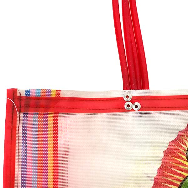【メキシコ直輸入】メキシコ マリア(グアダルーペ) メルカド バッグ (ホワイト×レッド)【画像5】