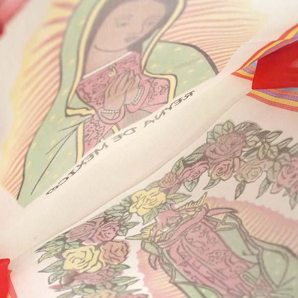 【メキシコ直輸入】メキシコ マリア(グアダルーペ) メルカド バッグ (ホワイト×レッド)【画像6】
