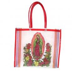 【メキシコ直輸入】メキシコ マリア(グアダルーペ) メルカド バッグ (ホワイト×レッド)