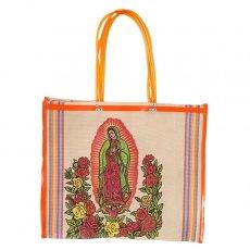 【メキシコ直輸入】メキシコ マリア(グアダルーペ) メルカド バッグ (ベージュ×オレンジ)