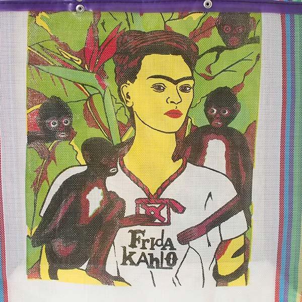 【メキシコ直輸入】メキシコ フリーダ・カーロ メルカド バッグ (ホワイト×パープル)【画像4】