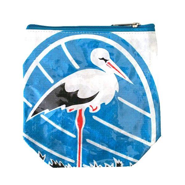 ベトナム 飼料袋 リメイク ポーチ(マチなし コウノトリ ホワイト)