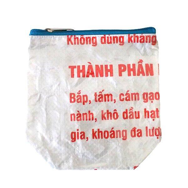 ベトナム 飼料袋 リメイク ポーチ(マチなし コウノトリ ホワイト)【画像2】