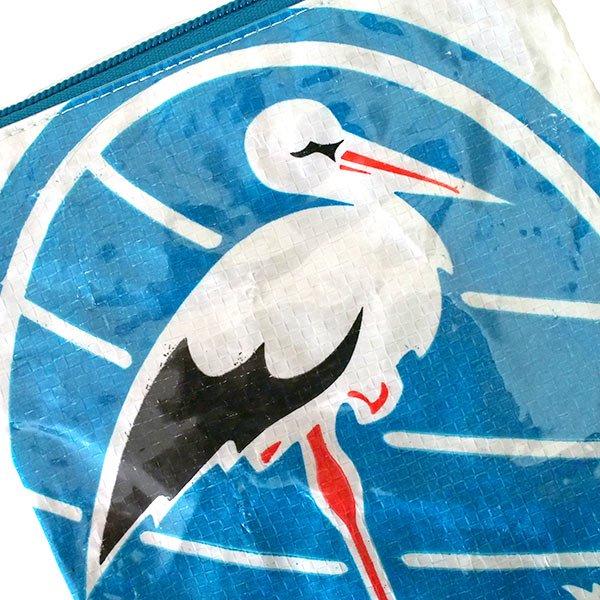ベトナム 飼料袋 リメイク ポーチ(マチなし コウノトリ ホワイト)【画像3】