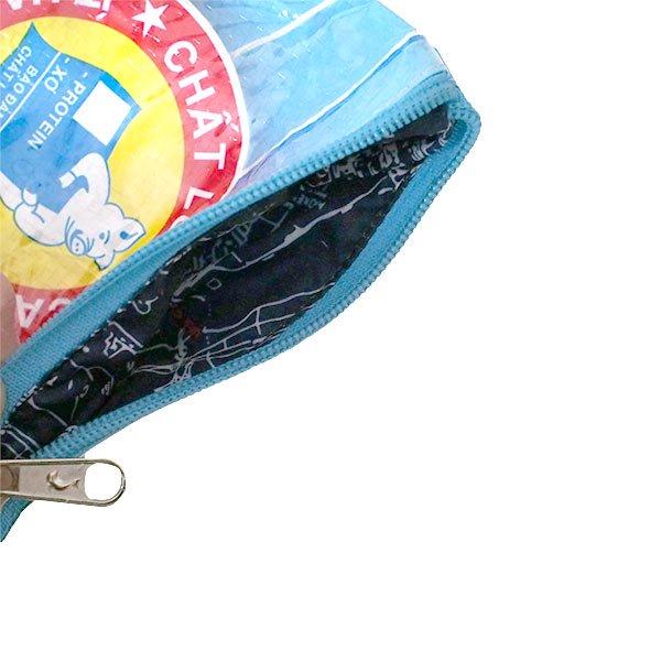 ベトナム 飼料袋 リメイク ポーチ(NEW サイズ ブタ ブルー)【画像4】