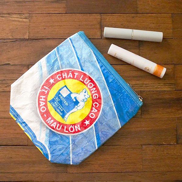 ベトナム 飼料袋 リメイク ポーチ(NEW サイズ ブタ ブルー)【画像5】
