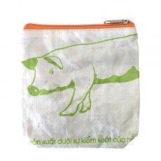 ベトナム 飼料袋 リメイク ポーチ(NEW サイズ ブタ キミドリ)