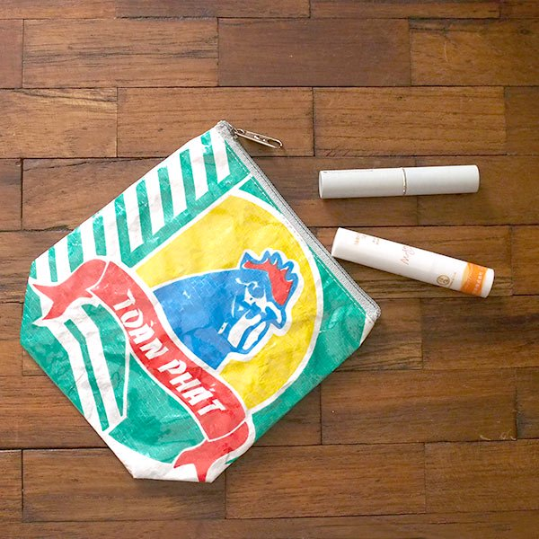 ベトナム 飼料袋 リメイク ポーチ(NEW サイズ ニワトリ ブルー)【画像5】