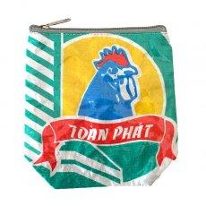 ベトナム 飼料袋 リメイク ポーチ(NEW サイズ ニワトリ ブルー)