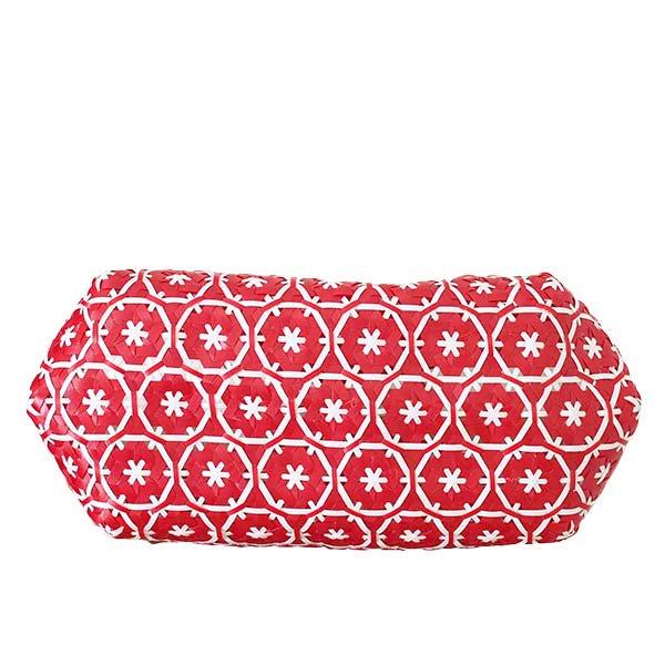 【サイズ大きめ】ベトナム プラカゴバッグ 花編み レッド(縦 30 横 50 マチ 20)【画像4】