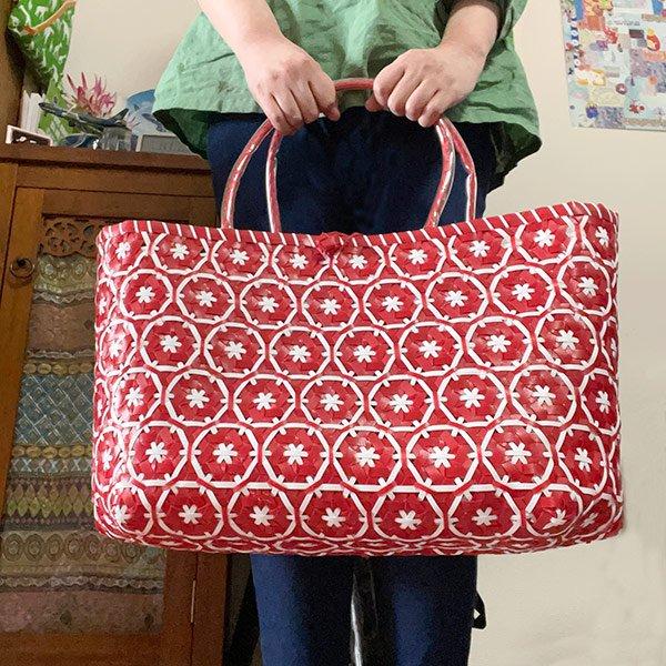 【サイズ大きめ】ベトナム プラカゴバッグ 花編み レッド(縦 30 横 50 マチ 20)【画像6】