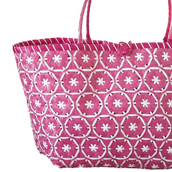 【サイズ大きめ】ベトナム プラカゴバッグ 花編み ピンク(縦 30 横 50 マチ 20)【画像2】