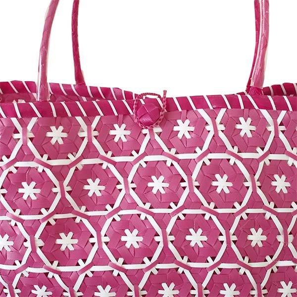 【サイズ大きめ】ベトナム プラカゴバッグ 花編み ピンク(縦 30 横 50 マチ 20)【画像3】