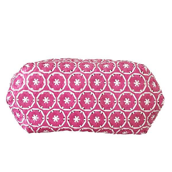 【サイズ大きめ】ベトナム プラカゴバッグ 花編み ピンク(縦 30 横 50 マチ 20)【画像4】