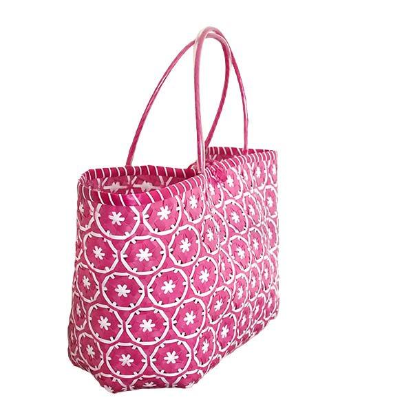 【サイズ大きめ】ベトナム プラカゴバッグ 花編み ピンク(縦 30 横 50 マチ 20)【画像5】