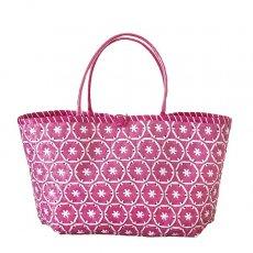 【サイズ大きめ】ベトナム プラカゴバッグ 花編み ピンク(縦 30 横 50 マチ 20)