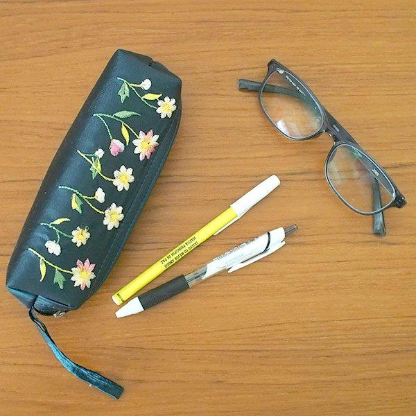 ベトナム 花刺繍 ポーチ / ペンケース / メガネケース (6色)【画像5】