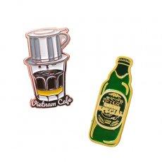 ベトナム ピンバッジ (ベトナムコーヒー・サイゴンスペシャルビール)
