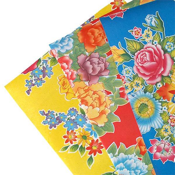 ベトナム 包装紙 レトロ花柄 A4サイズ 5枚セット【画像3】