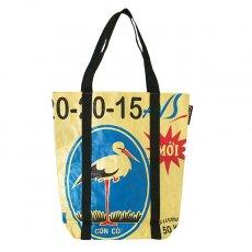 ベトナム 飼料袋 リメイク ショルダーバッグ(ビニールコーティングなし マチ付き コウノトリ)