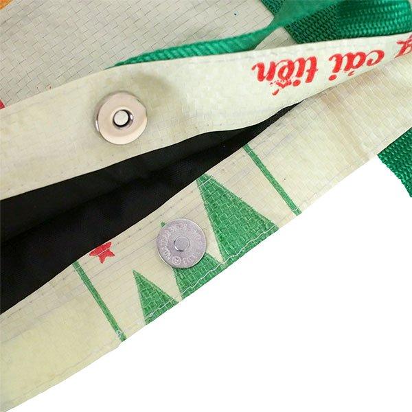 ベトナム 飼料袋 リメイク ショルダーバッグ(ビニールコーティングなし マチ付き ブタ 持ち手 グリーン)【画像5】