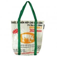 ベトナム 飼料袋 リメイク ショルダーバッグ(ビニールコーティングなし マチ付き ブタ 持ち手 グリーン)