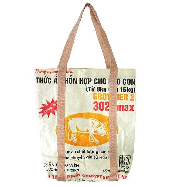 ベトナム 飼料袋 リメイク ショルダーバッグ(ビニールコーティングなし マチ付き ブタ 持ち手 クリーム)