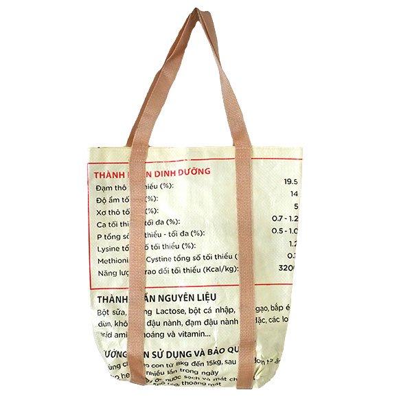 ベトナム 飼料袋 リメイク ショルダーバッグ(ビニールコーティングなし マチ付き ブタ 持ち手 クリーム)【画像2】