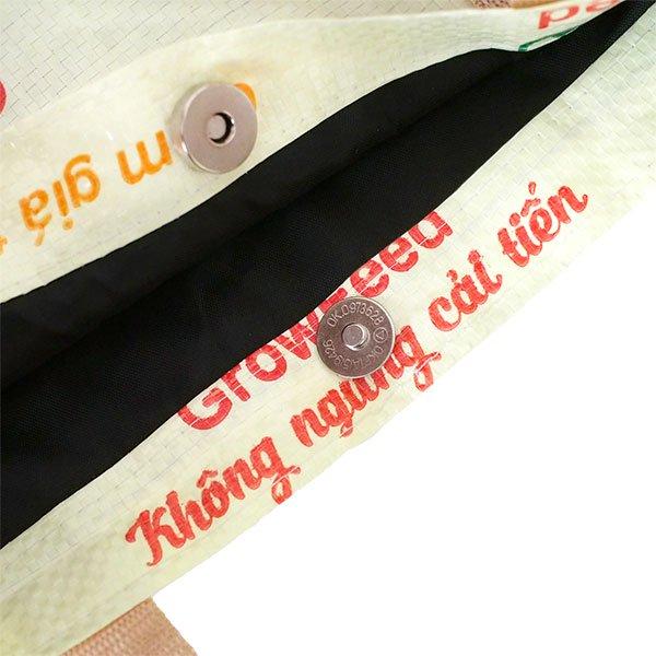 ベトナム 飼料袋 リメイク ショルダーバッグ(ビニールコーティングなし マチ付き ブタ 持ち手 クリーム)【画像5】