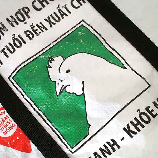 ベトナム 飼料袋 リメイク ショルダーバッグ(ビニールコーティングなし マチ付き ニワトリ B)【画像3】