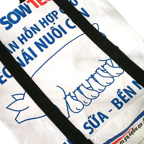 ベトナム 飼料袋 リメイク ショルダーバッグ(ビニールコーティングなし マチ付き ブタ B)【画像3】