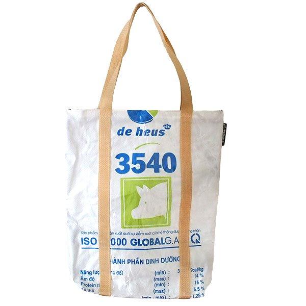 ベトナム 飼料袋 リメイク ショルダーバッグ(ビニールコーティング マチ付き ブタ キミドリ)