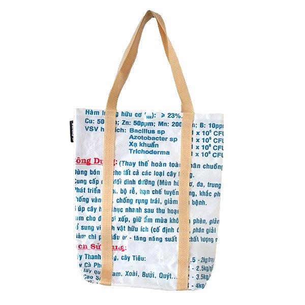 ベトナム 飼料袋 リメイク ショルダーバッグ(ビニールコーティング マチ付き ブタ キミドリ)【画像2】