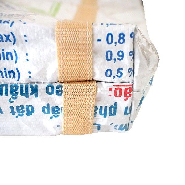 ベトナム 飼料袋 リメイク ショルダーバッグ(ビニールコーティング マチ付き ブタ キミドリ)【画像4】