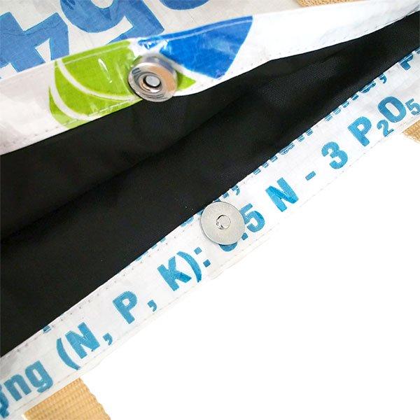 ベトナム 飼料袋 リメイク ショルダーバッグ(ビニールコーティング マチ付き ブタ キミドリ)【画像5】