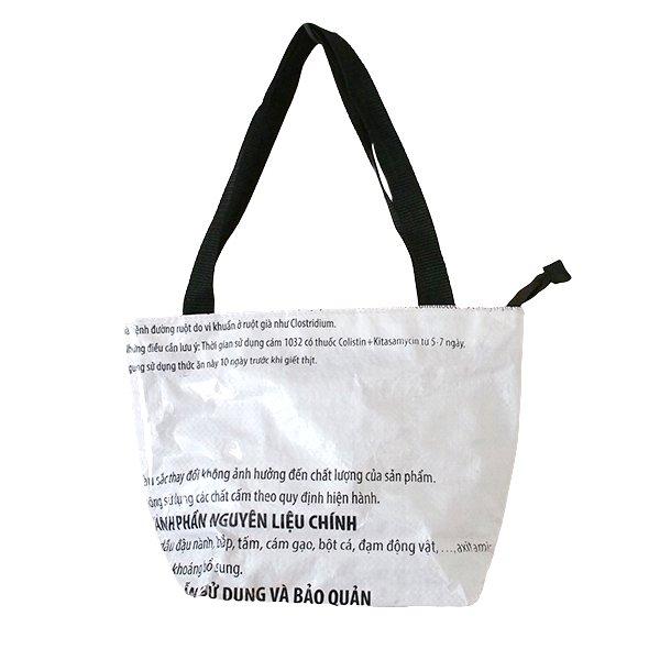 ベトナム 飼料袋 リメイク バッグ(肩掛けOK マチ付き アヒル ピンク )【画像2】