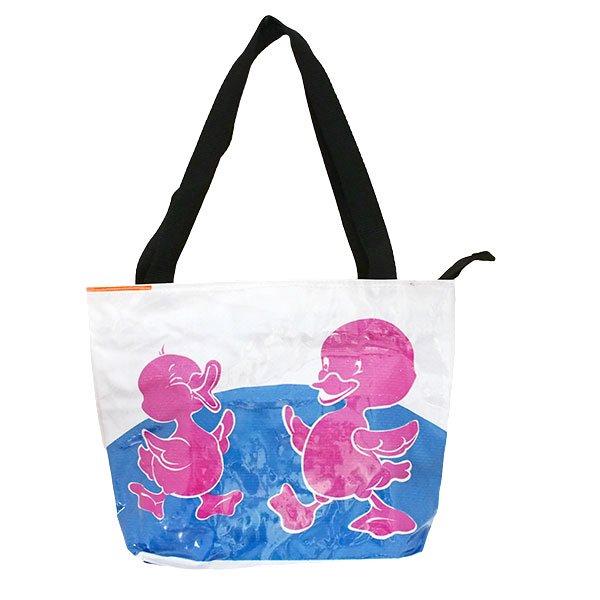 ベトナム 飼料袋 リメイク バッグ(肩掛けOK マチ付き ひよこ ピンク )