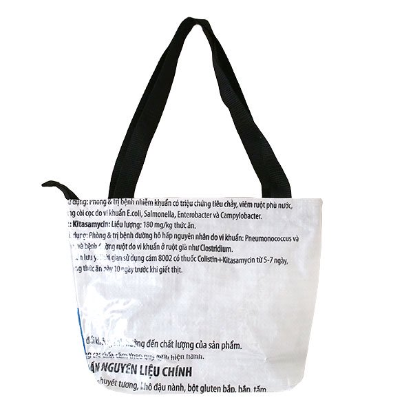 ベトナム 飼料袋 リメイク バッグ(肩掛けOK マチ付き ひよこ ピンク )【画像2】