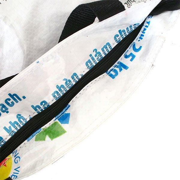 ベトナム 飼料袋 リメイク バッグ(肩掛けOK マチ付き ひよこ ピンク )【画像4】