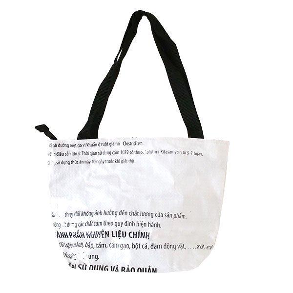 ベトナム 飼料袋 リメイク バッグ(肩掛けOK マチ付き ブタ キミドリ)【画像2】