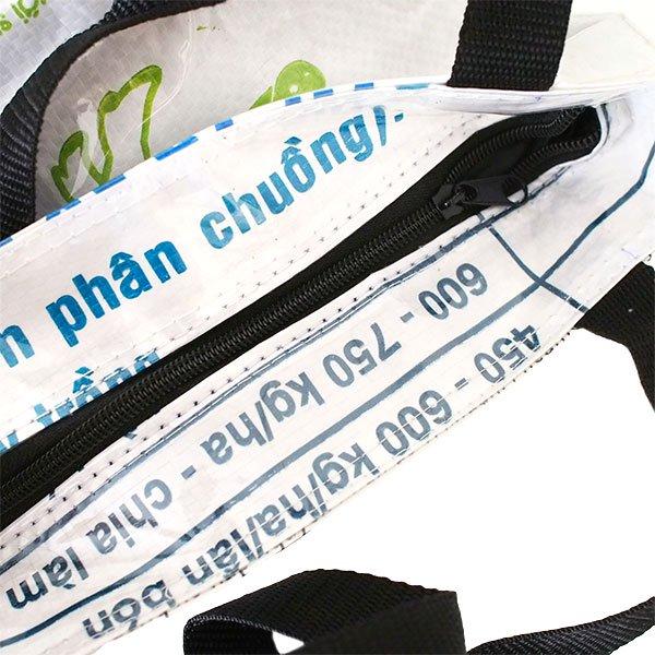 ベトナム 飼料袋 リメイク バッグ(肩掛けOK マチ付き ブタ キミドリ)【画像4】