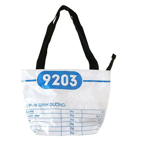 ベトナム 飼料袋 リメイク バッグ(肩掛けOK マチ付き アザラシ ブルー)【画像2】