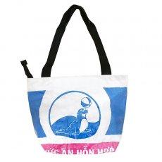 ベトナム 飼料袋 リメイク バッグ(肩掛けOK マチ付き アザラシ ブルー)