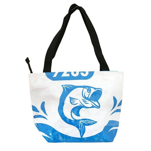 ベトナム 飼料袋 リメイク バッグ(肩掛けOK マチ付き 魚 ブルー)