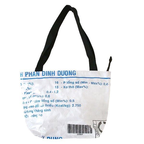 ベトナム 飼料袋 リメイク バッグ(肩掛けOK マチ付き 魚 ブルー)【画像2】